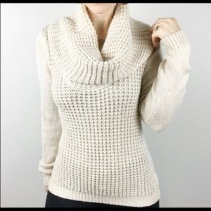 Anthropologie cream cowl neck sweater medium